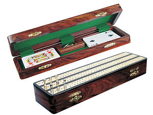 "Regalia Cribbage Board & Box in Ebony / Brass 12"" - 3 Tracks"