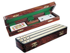 """Regalia Cribbage Board & Box in Ebony / Brass 12"""" - 3 Tracks"""