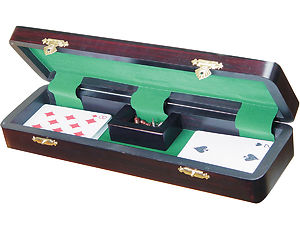 "Imperial Cribbage Board & Box in Ebony / Brass 12"" - 3 Tracks"