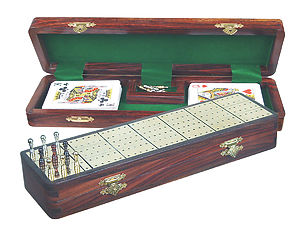 "Royal Cribbage Board & Box in Rosewood / Brass 12"" - 3 Tracks"