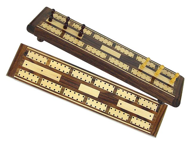 "Majestic Flat Cribbage Board in Rosewood / Maple 10"" - 2 Tracks"