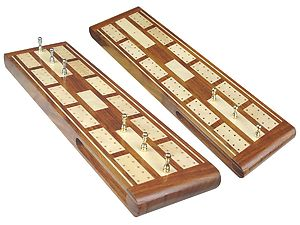 "Majestic Flat Cribbage Board in Golden Rosewood / Maple 13"" - 2 Tracks"