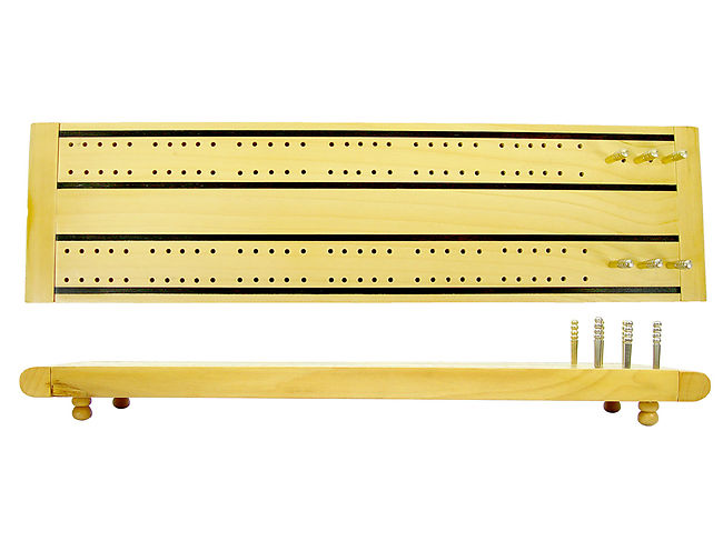"Supreme Flat Cribbage Board in Maple / Ebony 13"" - 2 Tracks"