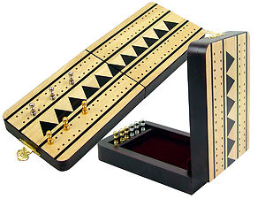 "Monarch Folding Cribbage Board & Box in Maple / Ebony 10"" - 2 Tracks"