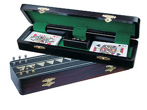 "Monarch Cribbage Board & Box in Ebony / Brass 12"" - 2 Tracks"