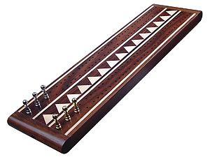 "Monarch Flat Cribbage Board in Rosewood / Maple 13"" - 2 Tracks"
