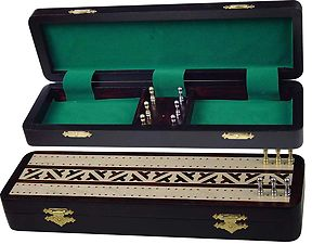 "Diplomat Cribbage Board & Box in Rosewood / Maple 12"" - 2 Tracks"
