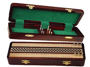 "Royal Cribbage Board & Box in Rosewood / Maple 12"" - 2 Tracks"