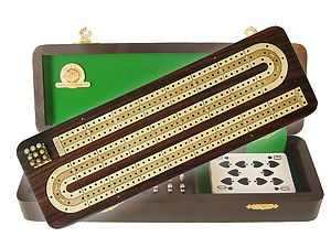 "Continuous Cribbage Board / Box Inlaid in Rosewood / White Maple 12"" - 3 Tracks"