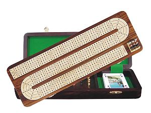 "Continuous Cribbage Board / Box Inlaid in Rosewood / White Maple 14"" - 4 Tracks"