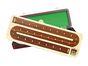 "Continuous Cribbage Board / Box Inlaid in White Maple / Rosewood 14"" - 4 Tracks"
