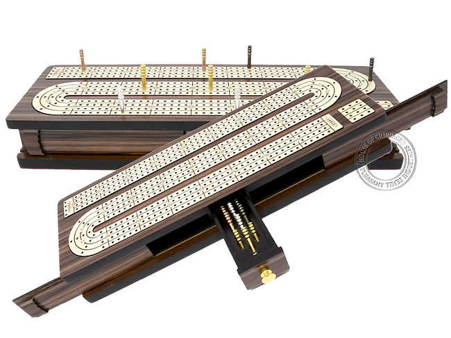 Continuous Cribbage Board 4 Tracks Sliding Lid Drawer Storage Rosewood/Maple