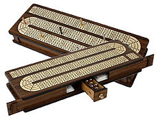 Continuous Cribbage Board Inlaid 4 Tracks Teakwood/Maple with Sliding Lids and Drawer