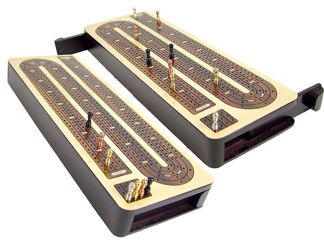 Unique Continuous Cribbage Board with 4 tracks inlaid in maple rose wood