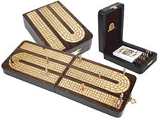 Continuous Cribbage Board Folding Box 4 Tracks Inlaid Rosewood/Maple - 12 Metal Pegs