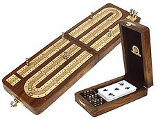 Continuous Folding Cribbage Board - 3 Tracks inlaid with Golden Rosewood / Maple - 9 Metal Pegs