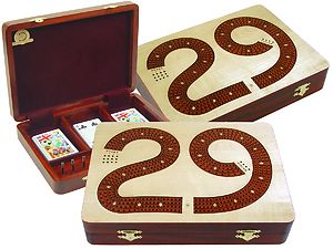 "29 Cribbage Board Box Continuous 4 Track inlaid with Maple / Bloodwood :: 11"" x 8"""