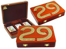29 Cribbage Board Box Continuous 4 Track inlaid with Bloodwood / Maple