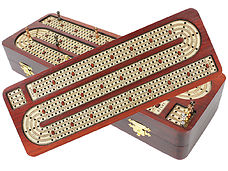 4 Tracks continuous cribbage board in Bloodwood / Maple with 12 metal cribbage pegs