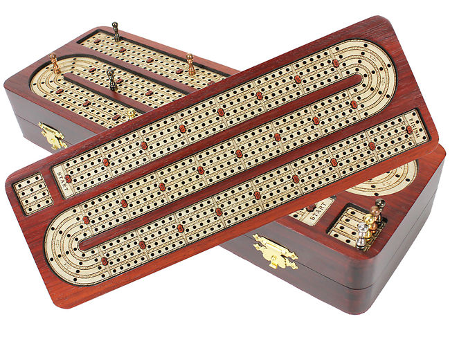 Continuous Cribbage Board 4 Tracks inlaid with Bloodwood / Maple