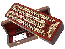 Continuous Cribbage Board Bloodwood Inlaid Maple 2 Tracks with Place to mark won games