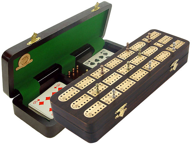 Unique Cribbage Board inlaid with Rosewood / Maple : 3 Tracks with place to mark won games