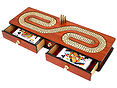 Continuous Cribbage Board with 2 Drawers Open and Playing Cards Inside