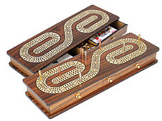 Continuous Cribbage Board Rosewood / Maple : Alphabet S Shape Inlaid 3 Tracks with Drawer Storage