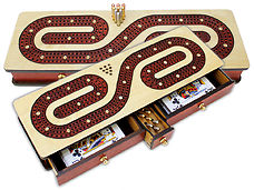 Continuous Cribbage Board inlaid with Maple / Bloodwood : Alphabet S Shape Inlaid 3 Tracks with Drawer Storage