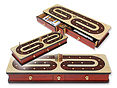 Continuous Cribbage Board with Alphabet C Design inlaid 3 tracks and drawers
