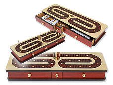 Continuous Cribbage Board : Alphabet C Shape Inlaid Bloodwood 3 Tracks on Maple Board with Drawer Storage