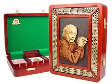 Einstein Image Inlaid 3 Tracks continuous cribbage board / box in Bloodwood / Maple with 9 metal cribbage pegs