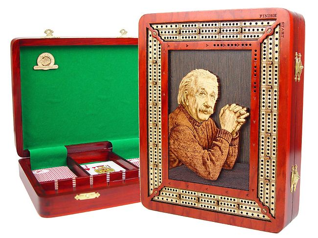 Handmade Custom Continuous Cribbage Board with Wooden Carved Einstein Image Inlaid