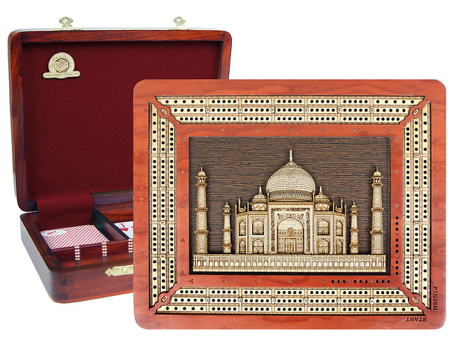 Handmade Custom Continuous Cribbage Board with Wooden Carved Taj Mahal Image Inlaid