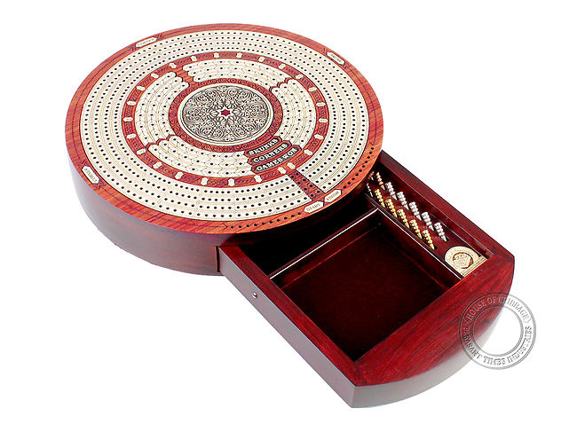 Round Cribbage Board Continuous 4 Tracks bloodwood/maple with push drawer