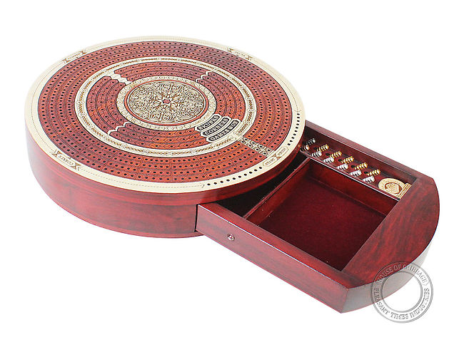Round Cribbage Board Continuous 4 Tracks maple/bloodwood with push drawer