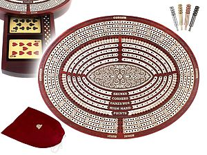 Oval Shape 4 Tracks Continuous Cribbage Board & Box in Bloodwood / Maple with Skunks, Corners, Won Games, High Hand & Points