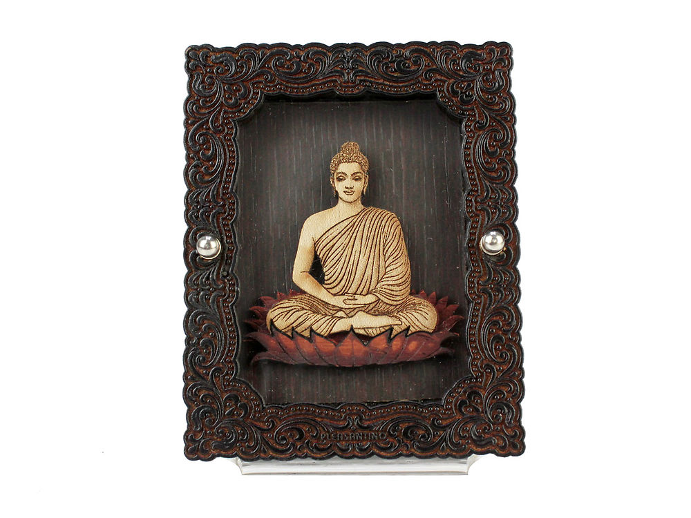 car dashboard wooden frame stand religious buddhist god gautama buddha