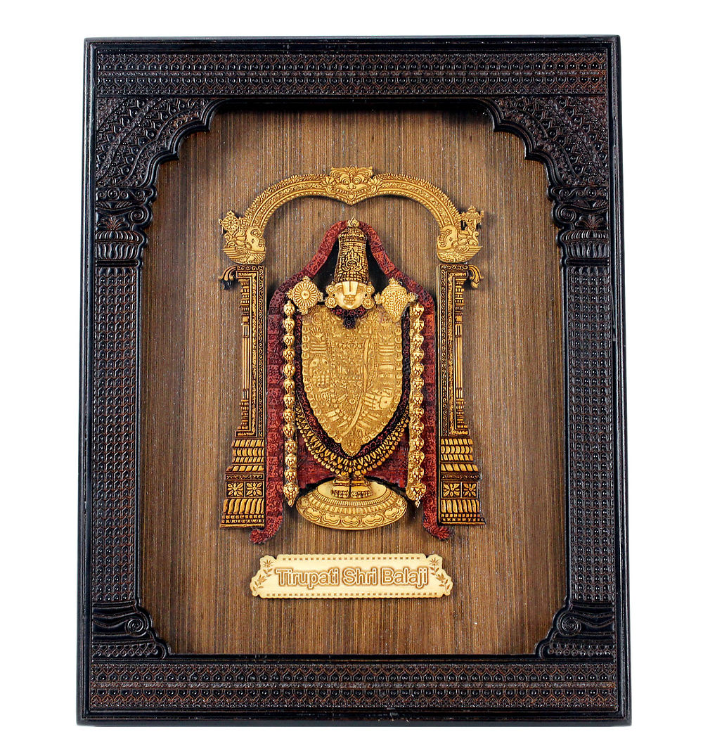 wood carved royal frame wall hanging of balaji religious hindu god venkateswara