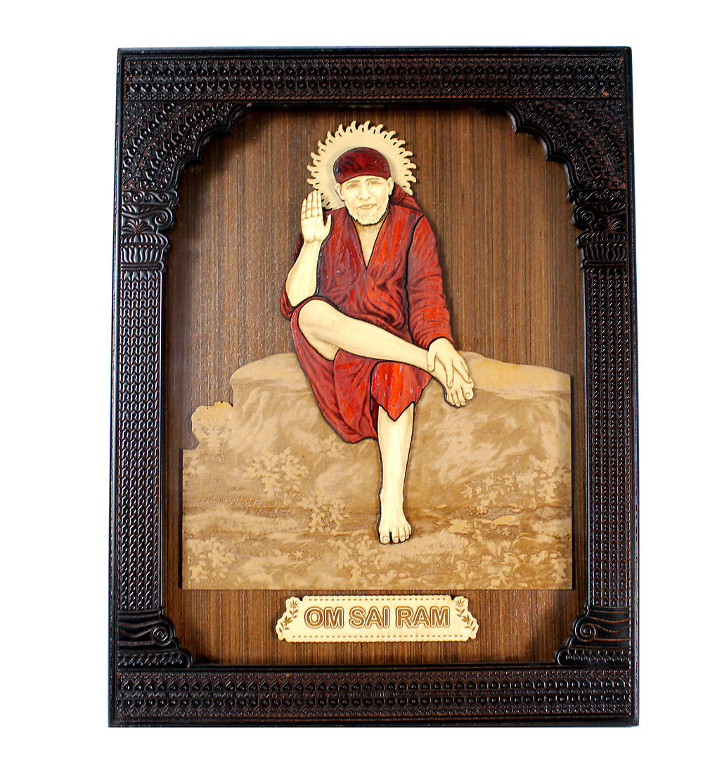 wood carved royal frame wall hanging of satya sai baba religious hindu god
