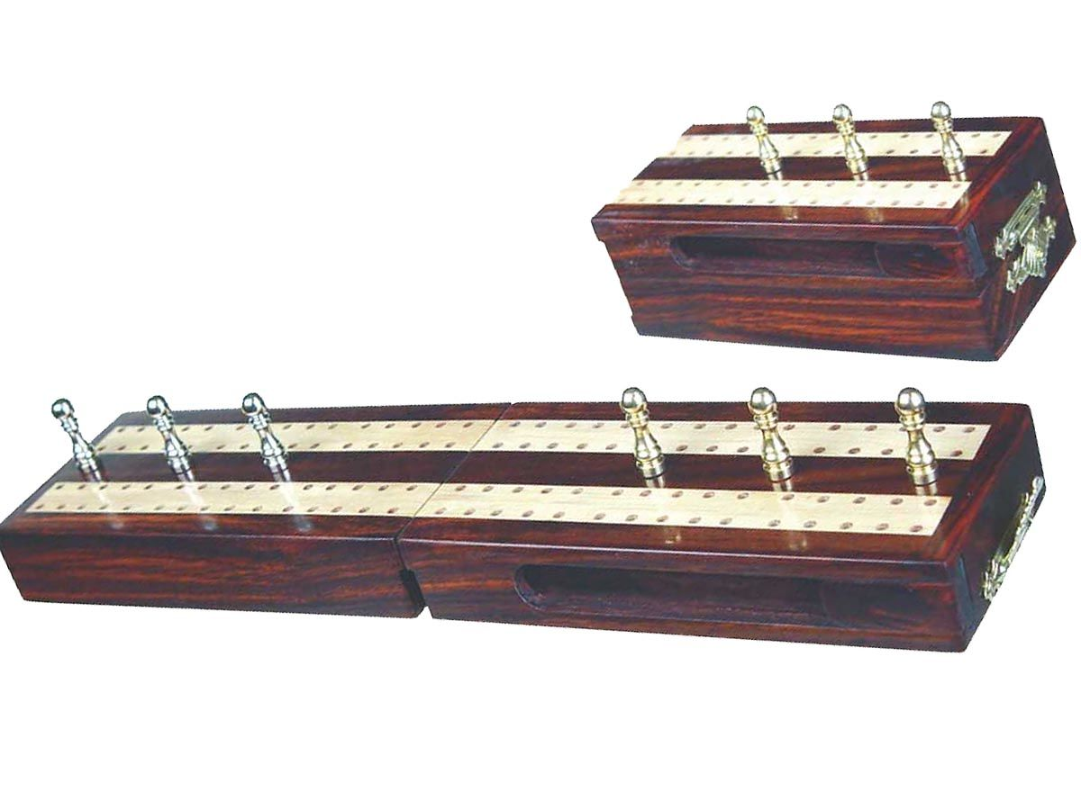 Folding Cribbage Boards in Rosewood with Pegs