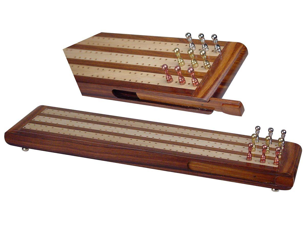 Wooden Flat Cribbage Board 3 Tracks