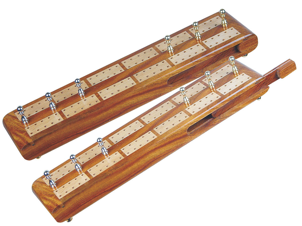 Imperial Flat Cribbage Board in Golden Rosewood / Maple 10
