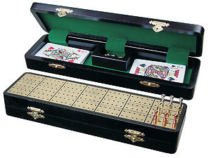 "Royal Cribbage Board & Box in Ebony / Brass 12"" - 3 Tracks"