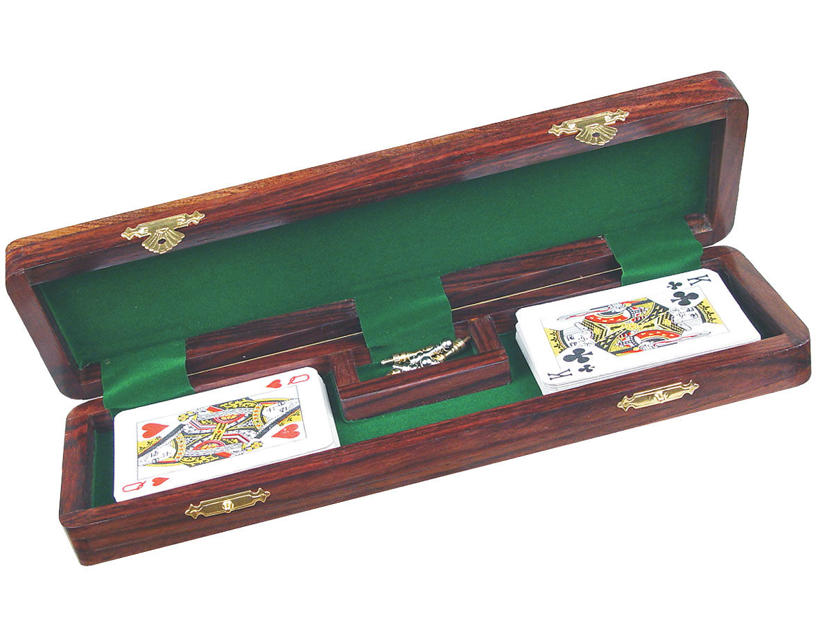 Opened cribbage boards with Playing cards