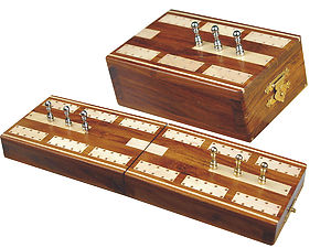 """Majestic Folding Cribbage Board & Box in Golden Rosewood / Maple 10"""" - 2 Tracks"""