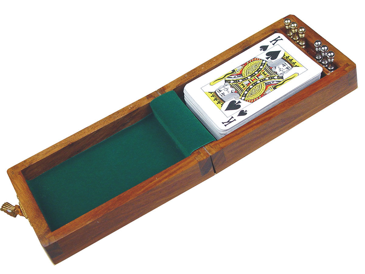 Card Box/Cribbage Board with playing cards