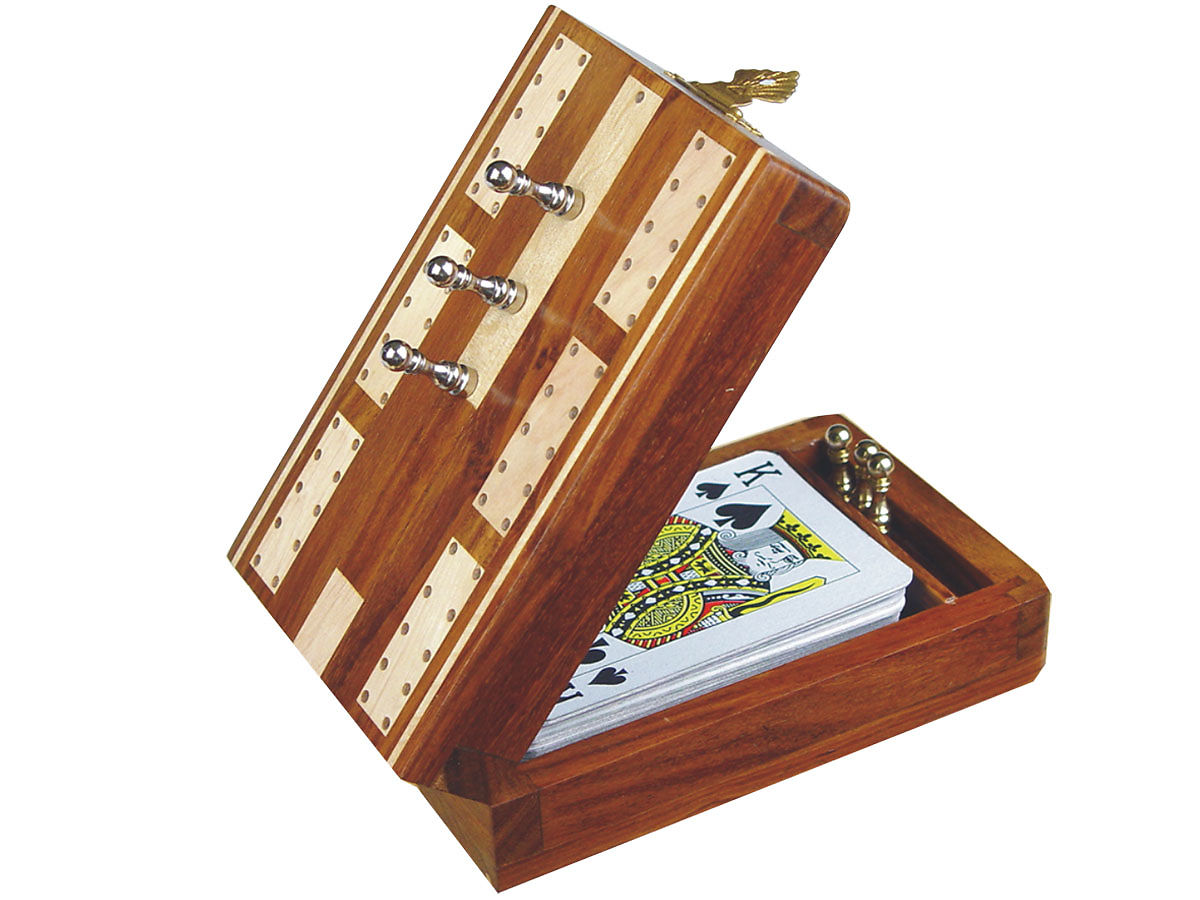 half open Cribbage Board with playing cards