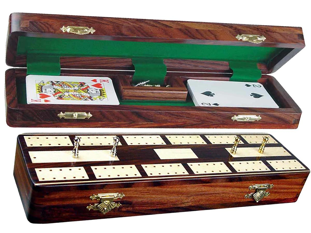 "Majestic Cribbage Board & Box in Rosewood / Maple 12"" - 2 Tracks"