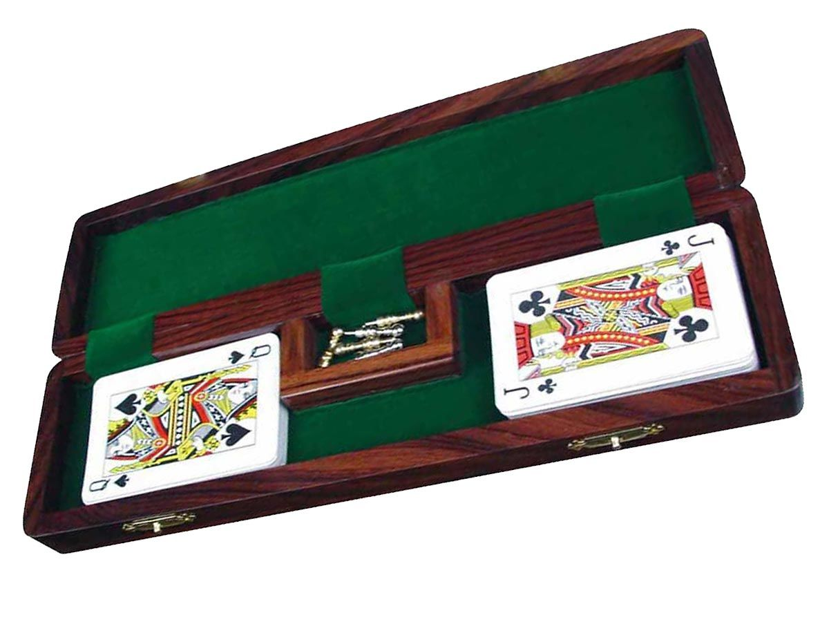 Fully Opened Cribbage Board With Pegs and Playing Cards